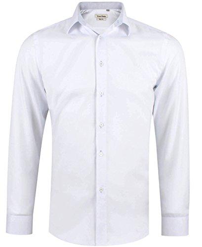 Camisa Oxford slim fit blanca para hombre con manga larga