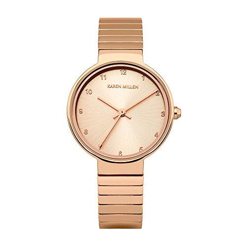 Reloj Mujer Karen Millen y Pulsera Metal Dorado Rosa KM131RGM