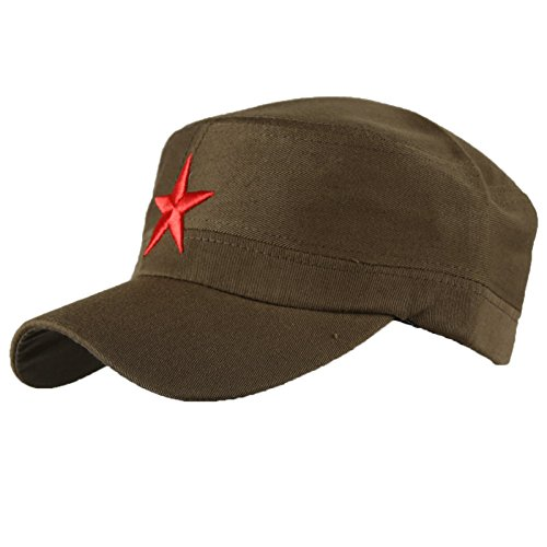 Castro Khaki (Damen Heren RUSSISCHE MILITÄRMÜTZE Roter Stern Fancy Dress Fidel Castro Vintage Military Mütze Cap (Khaki Red Star))