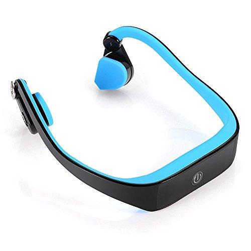Sumeber conduzione ossea auricolare senza fili bluetooth 4.1 auricolare di sport esterni cuffie a mani libere con microfono a cancellazione di rumore per ios / android / pc(blu)