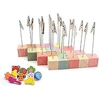 RETON 20 Piezas de Soporte de Madera para Clips de Notas con Cierre de Pinza de Cocodrilo y 10 Piezas de Tachuelas para el Pulgar (Multicolor)