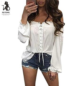Mujer Camiseta, ❤️Ba Zha Hei Las Mujeres honda Del Escote Redondo Con Blanco Bordado flores De Hombro Fríopara...