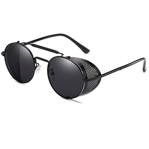 Personality Steam Punk Goggles Glasses Fashion Female Round Rave Gothic Vintage Style Cyber UV400 Sunglasses