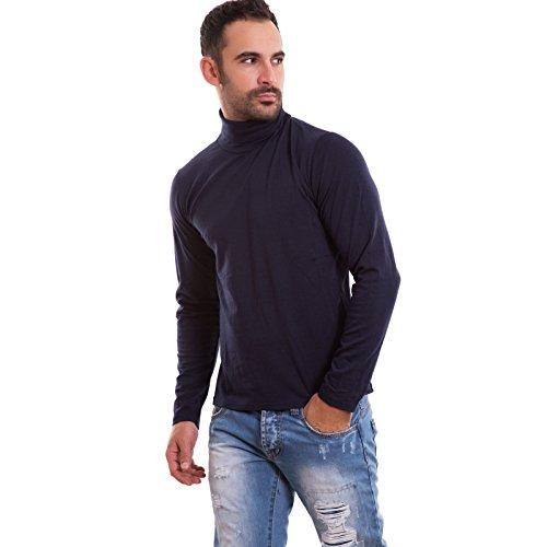 Lupetto uomo maglia manica lunga dolcevita felpato collo alto nuovo M1256A [XL,blu]
