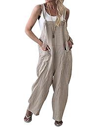 DEELIN Jumpsuit Damen Sommer Baumwolle Cargo Pants Latzhose Latzhose Wide Leg Hose Jumpsuit