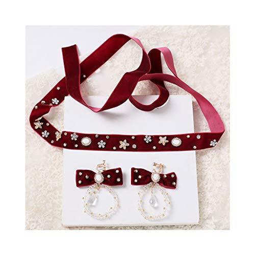 WHQ Braut Stirnband einstellbar mit Kristall rot Ohrclip Geschenk Krone Kleid Zubehör Girlande QD (Color : Z)
