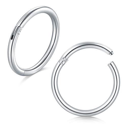 Incaton 18 Gauge 2stk 8mm Edelstahl Nasenpiercing Nasenring Ohrpiercing Clicker Ring Septum Piercing Fake Hoop Lippen Ohr Ring, Silber (Hoop Lippe Ringe)