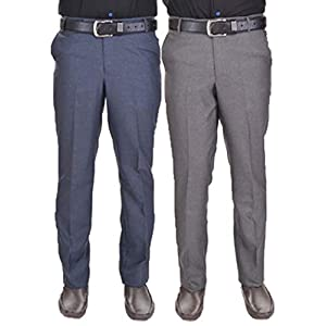 AD & AV Men's Regular Fit Formal Trousers (Pack of 2)