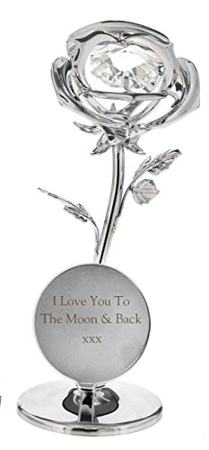 CRYSTOCRAFT Silver Plated ROSE Ornament I LOVE YOU TO THE MOON AND BACK Gifts Romantic Presents for my Girlfriend Wife Mum Mummy Sister Nan Grandma Her on Valentines Mothers Day Birthday Christmas