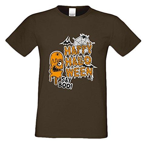 Grusel T-Shirt Herren Fun-Motiv Happy Halloween Geschenkidee Geburtstagsgeschenk Hexen Gespenster Geister Farbe: braun Braun