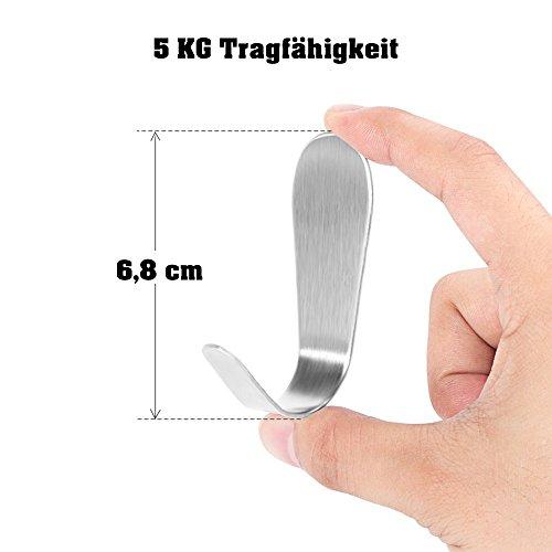 Premium Klebehaken - 6 Stück - 5KG Haltekraft - hochwertige selbstklebende Haken aus Edelstahl - ohne Bohren-Wandhaken, Handtuchhaken zum praktischen Einsatz für die ganze Familie