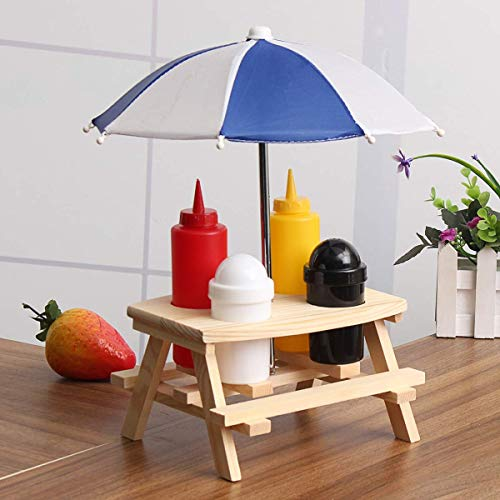 ZHAS Sonnenschirm Bank Cruet Gewürzglas Set Salz Pfeffersauce Flaschenhalter Picknick Camp BBQ Küchenzubehör Gewürzregal - Top Cruet