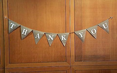THANK YOU Burlap Banner- Wedding Burlap Banner- Give Thanks Burlap Banner- Opulent Thanks Giving Banner- Custom Home Décor-Rustic Thankful Bunting-Thank You Party Décor-Pennant Flag