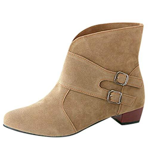 MYMYG Damen Chelsea Boots Schnalle Strap Runde Zehenschuhe Quadratische Fersen Stiefel Ankle Boots Wildleder Flache Stiefel Schneestiefel Freizeitschuhe Kurzschaft Warme Winterstiefel