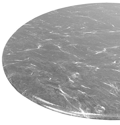 Table Magic Tischdecke, rund, 91,4 cm bis 121,9 cm, elastischer Rand, Vinyl, Grau/Granit (Tischdecken Rund Vinyl)