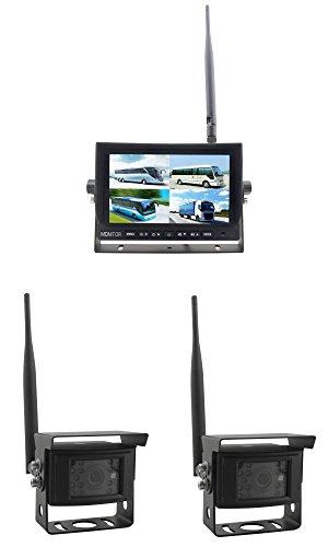 YMPA Rückfahrsystem Funk kabellos Einparkhilfe Digitalfunk 2 Rückfahrkamera Kamera Monitor 17,8 cm 7 Zoll Inch TFT LCD Quad Split nachrüsten einbauen PKW KFZ Auto Landmaschinen
