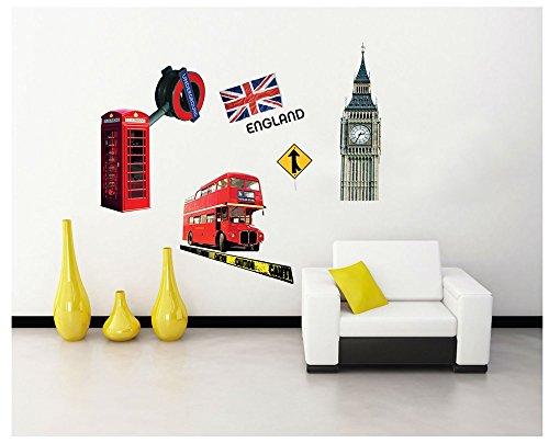 ufengke home el Big Ben y Los Famosos Símbolos de Londres Pegatinas de Pared,Adhesivos Decorativos de Vinilo de DIY Coloridos Pared Calcomanías para Sala de Estar, Dormitorio Mural