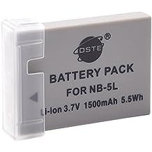 DSTE Repuesto Batería para Canon NB-5L PowerShot S100 S110 SD700 IS SD790 SD800 SD850 SD870 SD880 SD890 SD900 SD950 SD970 SD990 SX200 SX210 SX220 SX230 HS IXUS 800 850 860 870 900 90 950 960 970 980 990 IS