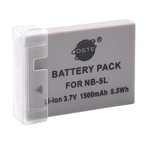 DSTE Spare Battery for Canon NB-5L PowerShot S100 S110 SD700 IS SD790 SD800 SD850 SD870 SD880 SD890 SD900 SD950 SD970 SD990 SX200 SX210 SX220 SX230 HS IXUS 800 850 860 870 900 90 950 960 970 980 990