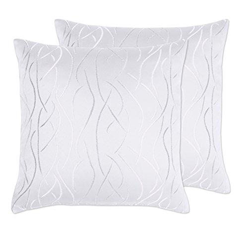 Kissenhüllen 2 Stück, FARBE wählbar, Damast Streifen, 50x50 cm, Weiß, Beautex