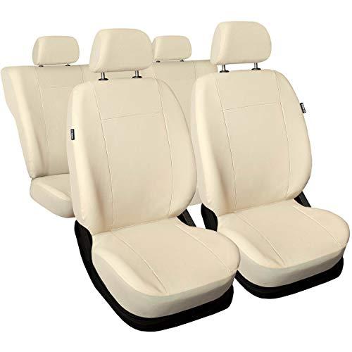 Saferide | Universal Beige Kunstleder Sitzbezüge Komplettset Sitzbezug für Auto Sitzschoner Set Schonbezüge Autositz Autositzbezüge Sitzauflagen Sitzschutz PKW Comfort