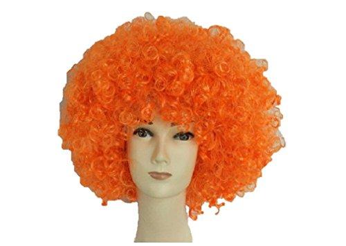 Matissa Clown Perücke Zirkus Unisex Funny Fancy Party Kleid Zubehör Afro Hirsch Do Fun Joker (Orange)