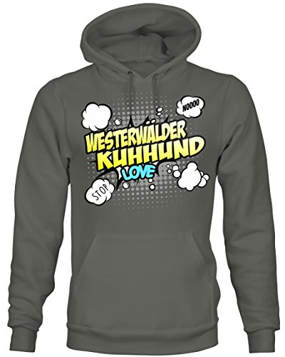 Unisex Hoodie Kapuzensweatshirt - WESTERWÄLDER KUHHUND altdeutsche Hunde - COMIC Cartoon Fun...