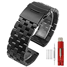 5 Rows Link Black Stainless Steel Watch Band Replacement Metal Watch Strap for Women Men 18mm Watch Bands Double-Lock Deployment Clasp