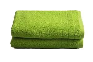 """2 tlg.Duschtuchset """"Selmin"""" 2x Duschtücher 70x140 cm in Apfelgrün, 100% Baumwolle 600 g/m²"""