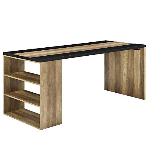 [en.casa] Schreibtisch mit 3 Ablagefächern - MDF, furniert - 180x78x77cm - Holzfarben/Schwarz - Arbeitstisch Computertisch - 2