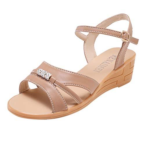 UOWEG Wedges Sandalen für Damen Sommer Mode Knöchel Schnalle Wedges Sandalen Plattform Retro Peep Toe Sandalen -