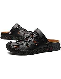 Moda Verano Antideslizante Suela de Cuero Suave Zapatos Planos Hombre Sandalia Slip-on Zapatillas cómodas y Transpirables Zapatos de Ropa Casual - Negro 44