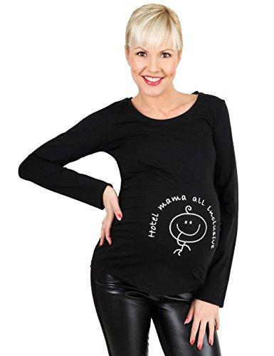 Be! Mama lustige Umstandsmode Schwangerschafts-Shirt, Modell: HOTEL, schwarz, Größe: S/M