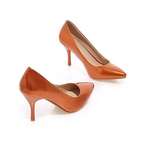 Voguezone009 Femmes Pull À Bout Pointu Shimmer Pure Ballerines À Talons Hauts Orange