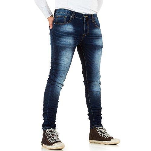 Herren Jeans, USED LOOK SLIM FIT KNITTER, KL-H-OR3026 Blau