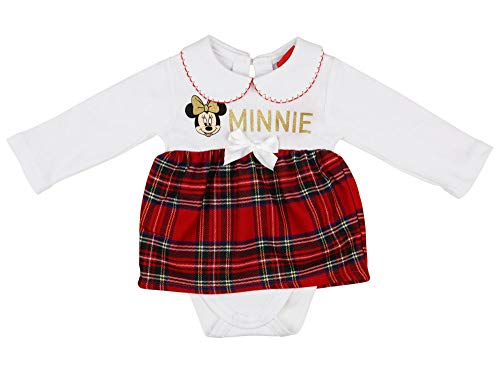 Baby Mädchen Festlicher Body, Weihnachts-Body,Baby Mädchen Weihnachts-Outfit,Weihnachtskleid Neugeborene Rot Weiß 56 62 68 74 80 86 Disney, Minni Mouse, Einteiler, mit Kragen Farbe Weiss, Größe 56
