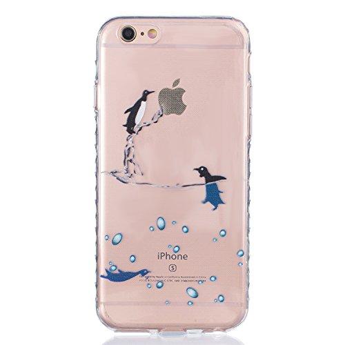 iPhone 6 Hülle, E-Lush TPU Soft Silikon Tasche Transparent Schale Clear Klar Hanytasche für Apple iPhone 6 6S(4,7 zoll) Durchsichtig Rückschale Ultra Slim Thin Dünne Schutzhülle Weiche Flexibel Handyh Pinguin
