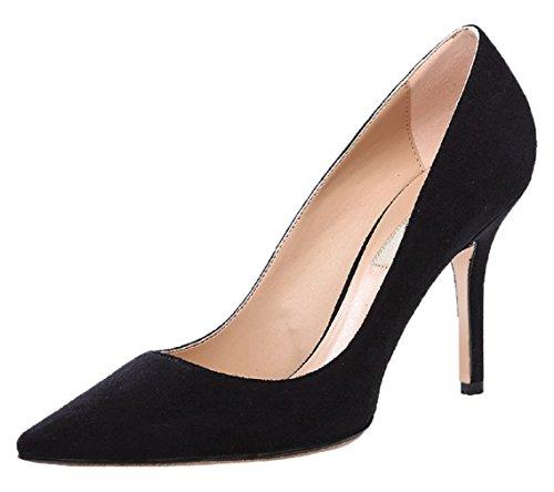 HooH Femmes Flanelle Pointed Toe Stiletto Bottes 012 Noir