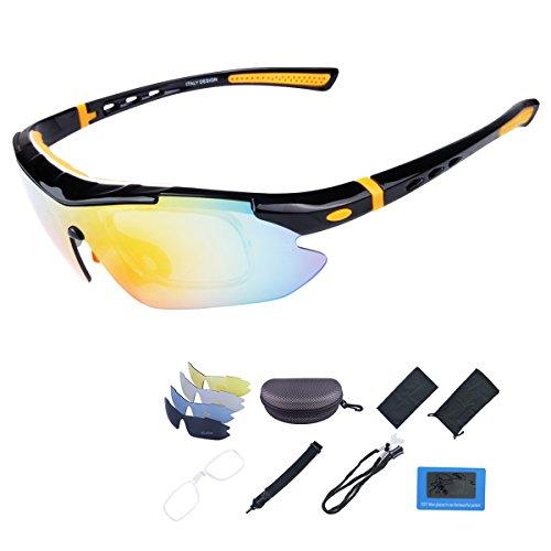 Occhiali Ciclismo Occhiali da Sole Sportivi Polarizzati con 5 Lenti Intercambiabili Uomo e Donna Antivento Aviatore Specchio per Ciclismo Guida Pesca