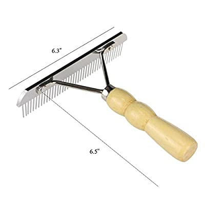 YGR Undercoat Rake for Dogs,Pet Comb,Dog Comb with Wooden Handle, large dogs Slicker Hair brush by YGR