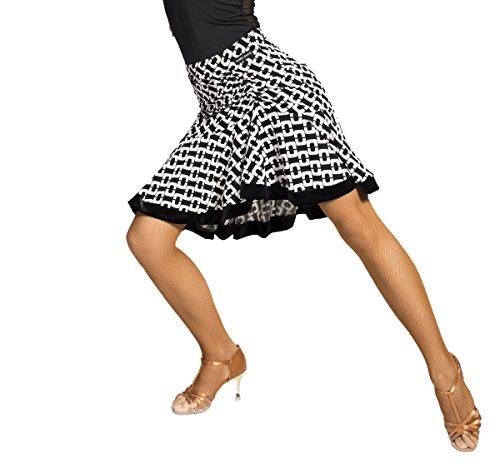 SCGGINTTANZ G2047 Latin Latein Moderner Der Ball Tanz Gesellschaftstanz Professionell Glücksschloßmuster und Fischschwanz modellier Rock (S, (SBS) Black+White)