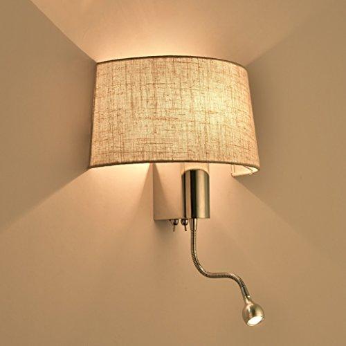 Wohnzimmer Schlafzimmer LED Nachttischlampe Dual Control Switch Mit  Schlauch Nachtlicht Stoff Schatten Shade Plating Körper (