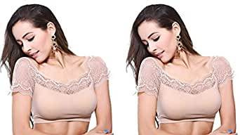 Gopalvilla Women's Lace Padded Blouse -Pack of 2 - SFH020_SK_SK_4_Beige_Free Size