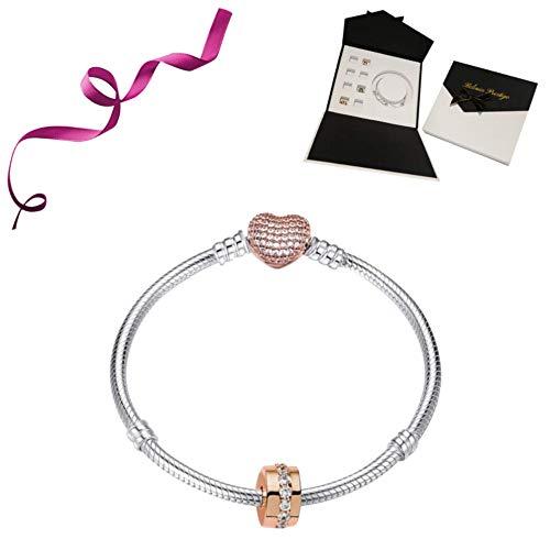 fffd7c6e3a0932 belinia prestige - Bracciale donna - Bracciale con ciondolo cuore +  ciondolo in oro rosa +