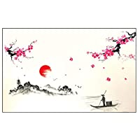 highouse Charm Chinese Style Sakura Japanese Pink Cherry Blossom Tree Decor Wall Sticker