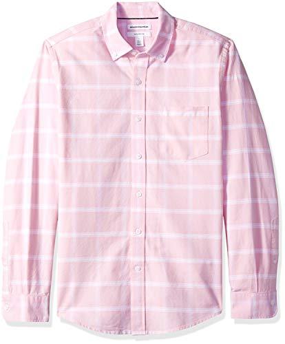 Amazon Essentials Slim-Fit Long-Sleeve Windowpane Pocket Shirt Freizeithemd, Pink Pin, US (EU XL-XXL) -