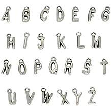 Colgantes variados con letras para crear bisutería y proyectos de manualidades (26 unidades)