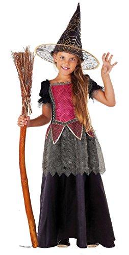 Magicoo Deluxe Hexe pink-Gold-schwarz - Hexenkostüm für Kinder Halloween - Hexenkostüm Mädchen (140) (Deluxe Kinder Pink Hexe Kostüm)