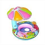 Museya Schwimmhilfe Baby Schwimmsitz Aufblasbarer Schwimmring mit Sonnenschutz Für 0 bis 3 Jahre Alte Baby