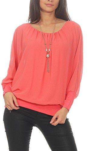 Malito Damen Bluse mit passender Kette | Tunika mit ¾ Armen | Blusenshirt mit breitem Bund | Elegant - Shirt 1133 (Coral)